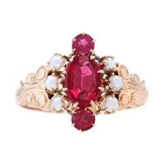 Rose Gold Garnet / Glass Doublet & Halved Pearl Victorian Ring, 10k Oval Antique