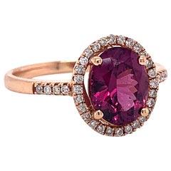 Rose Gold Grape Tourmaline Halo Ring