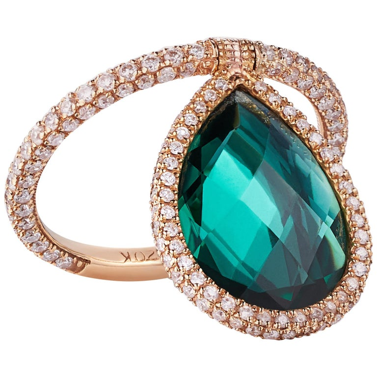 Nina Runsdorf Rose Gold Green Quartz Flip Ring For Sale