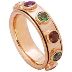 Rossella Ugolini 1 Karat Tourmaline and Garnet No Stress Rose Gold Band Ring