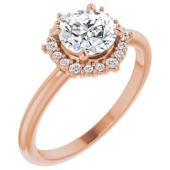 Rose Gold Halo Diamond Accented Round Brilliant GIA Certified Engagement Ring