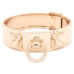 Rose Gold Hermes Collier de Chien Bangle Bracelet