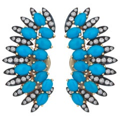 Rose Gold Icy Diamond Turquoise Clip-On Angel's Wing Earrings