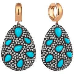 Rose Gold Icy Diamond Turquoise Earring