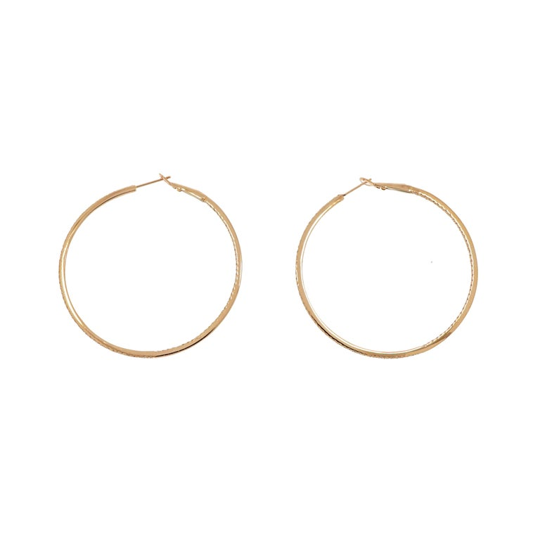 Modern Rose Gold In-Out Diamond Hoops For Sale