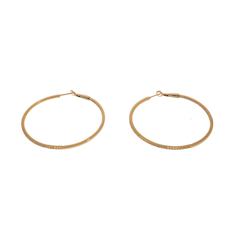 Round Cut Rose Gold In-Out Diamond Hoops For Sale