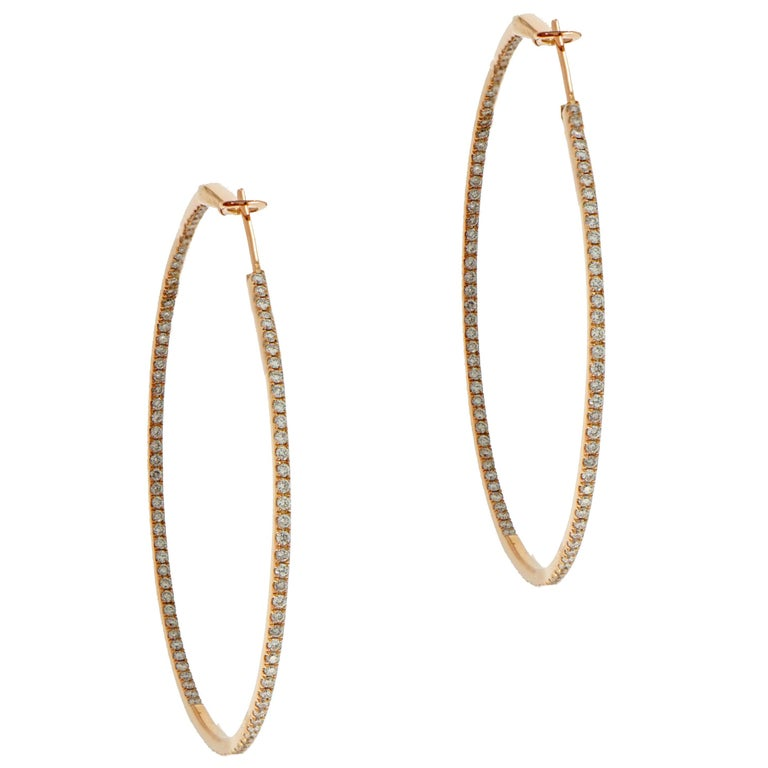Rose Gold In-Out Diamond Hoops For Sale
