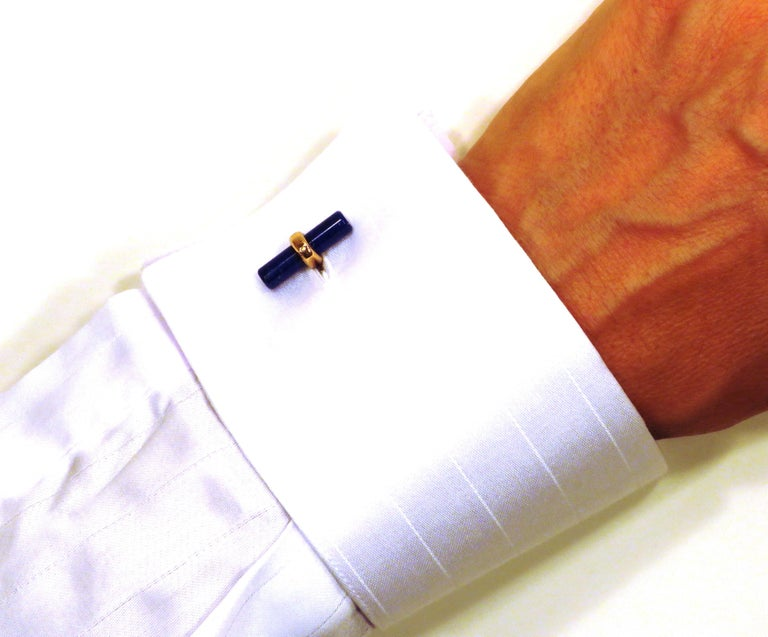 Cufflinks in 9k rose gold with two lapis lazuli bars. Stones size: length 20 mm - diameter 5 mm (length 0,787402 - diameter 0,19685 inches). They are stamped with the Italian Gold Mark 375 - 716MI These cufflinks are also available in my 1stdibs