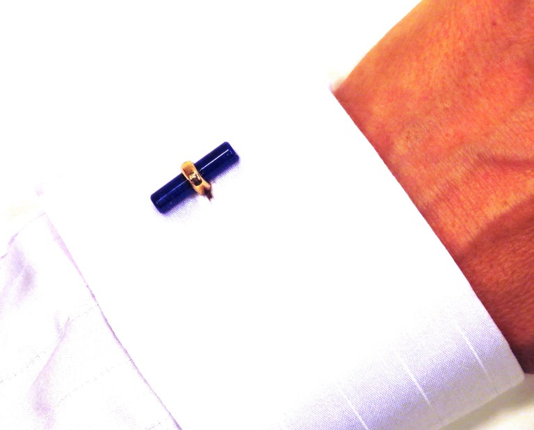 Modern Rose Gold Lapis Lazuli Cufflinks Handcrafted in Italy by Botta Gioielli