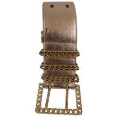 Rose gold leather and gold hardware belt NWOT