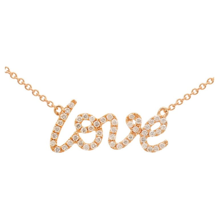 "Rose Gold ""Love"" Necklace For Sale"