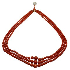 Rose Gold, Mediterranean Red Coral and Pearls 3 Strands Necklace
