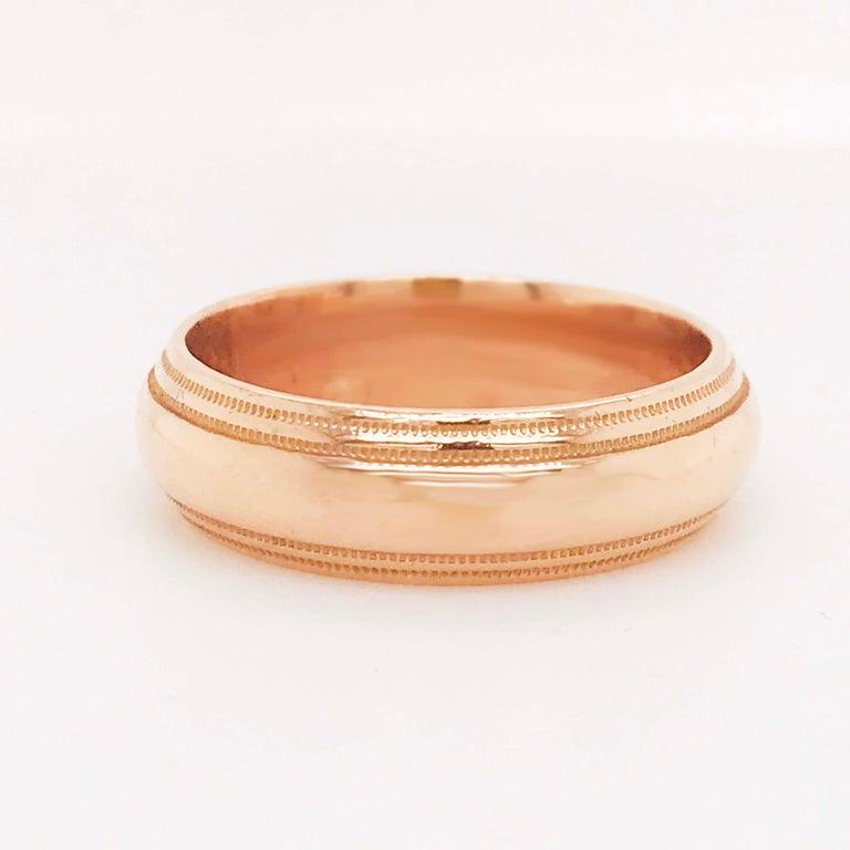 Rose Gold Men's Wedding Band, Wide Half Round Band in 14 Karat Rose Gold For Sale 1