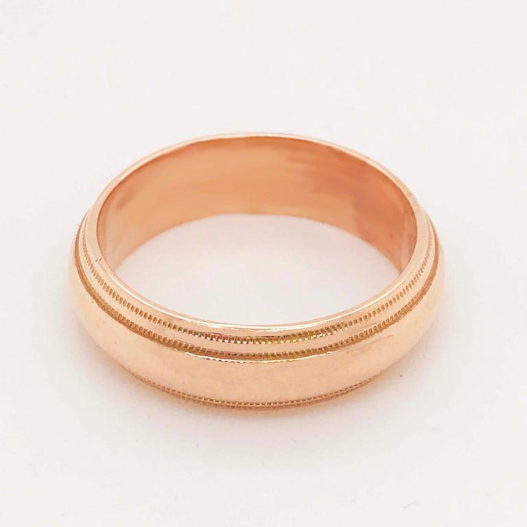 Rose Gold Men's Wedding Band, Wide Half Round Band in 14 Karat Rose Gold For Sale 2