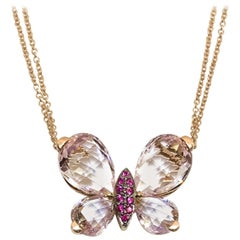 Rose Gold, Morganite, Amethyst, Pink Sapphire Butterfly Pendant