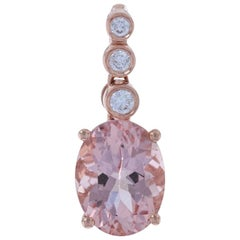 Rose Gold Morganite and Diamond Pendant, 14 Karat Oval Cut 1.93 Carat