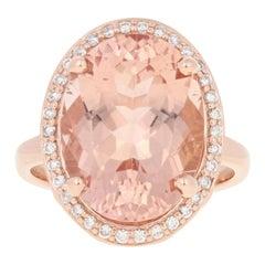 Rose Gold Morganite and Diamond Ring, 14 Karat Oval Cut 9.27 Carat Halo Women's