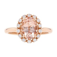 Rose Gold Morganite & Diamond Halo Ring, 14k Oval Cut 2.15ctw Engagement