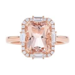 Rose Gold Morganite & Diamond Halo Ring, 14k Radiant Cut 2.86ctw Engagement