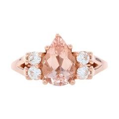 Rose Gold Morganite & Moissanite Ring, 14k Pear Cut 3.00ctw