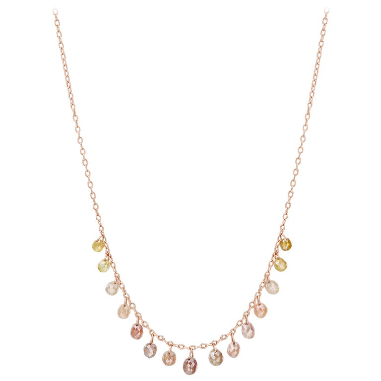 Nina Runsdorf Rose Gold Multi-Color Diamond Briolette Necklace For Sale