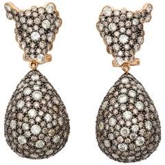 Rose Gold, Multi-Color Diamond Ear Pendant Earrings