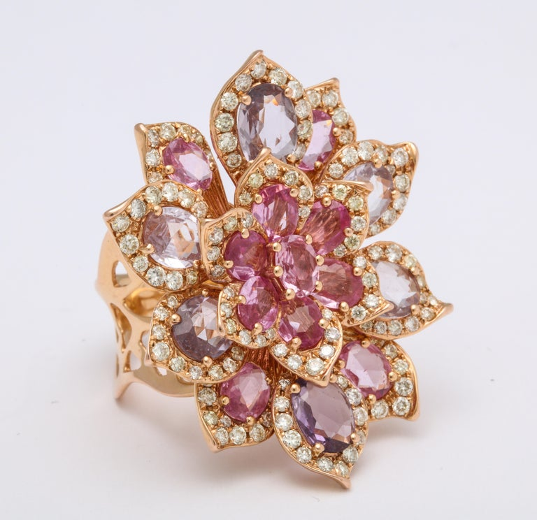 0417865c04366 Rose Gold, Multi-Color Sapphire and Diamond Cocktail Flower Ring