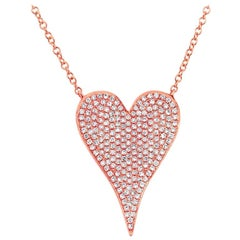 Rose Gold Necklace Heart Shape Diamond Pendant