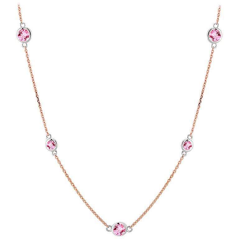 Rose Gold Nine Pink Sapphire Bezel Set Pendant Necklace Weighing 3 Carat For Sale