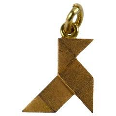Rose Gold Origami Bird Charm Pendant