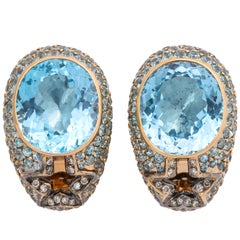 Rose Gold, Oval Blue Topaz and Diamond Earrings
