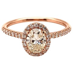 Rose Gold Oval Diamond Halo Engagement Ring 1.04 Carat GIA