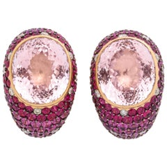 Rose Gold, Oval Kuznite, Multi-Color Pink Sapphire and Diamond Earrings