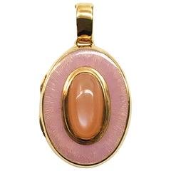 Rose Gold Pastel Orange Moonstone Pink Enamel Locket Pendant