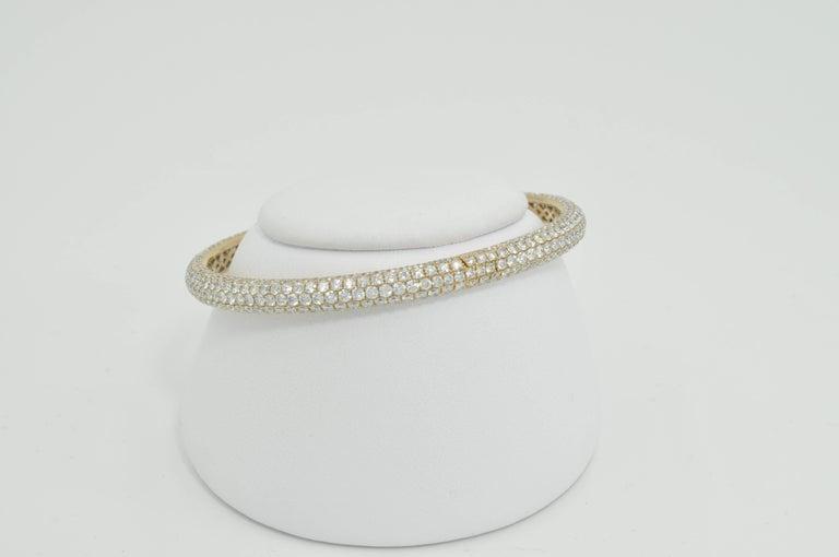 Modern Rose Gold Pave Diamond Bangle Bracelet