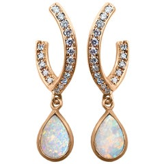 Rose Gold Pave Diamond Opal Drop Earrings