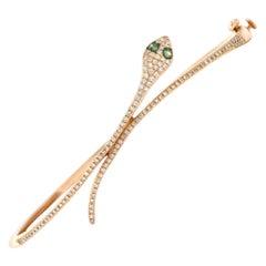 Rose Gold Pave' Diamond Snake Bracelet Bangle Cuff Cleopatra Egyptian Revival