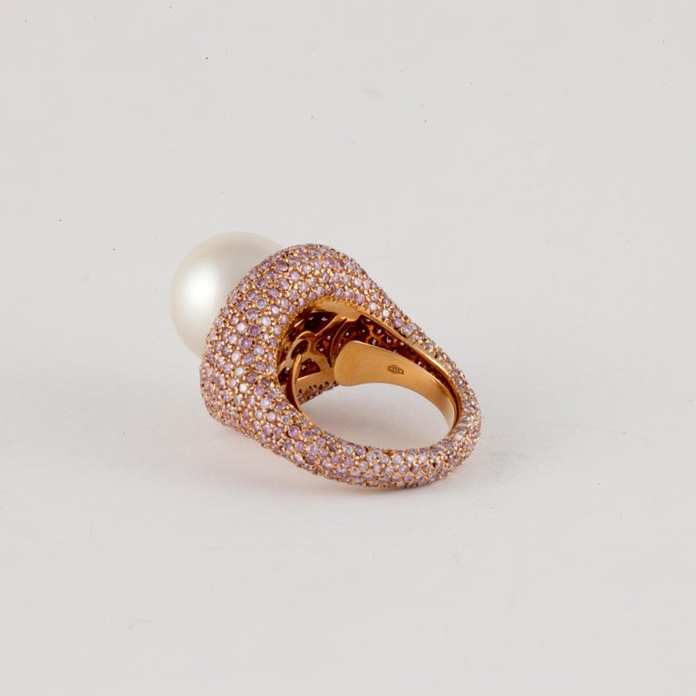 Rose Gold Pink Diamond Pearl Ring In Good Condition For Sale In Houston, TX