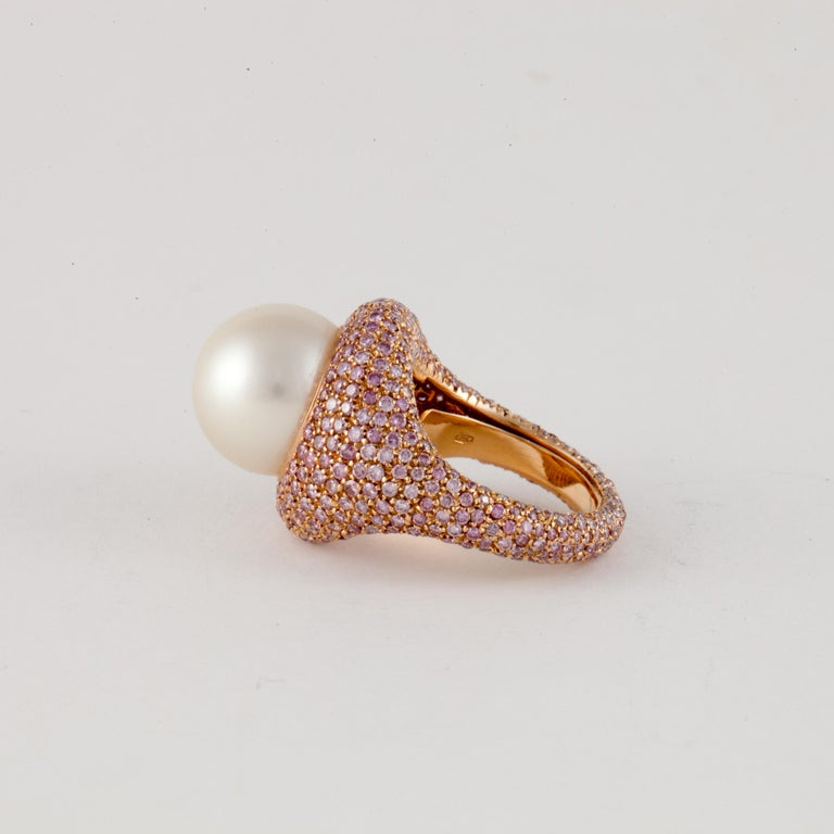 Women's or Men's Rose Gold Pink Diamond Pearl Ring For Sale