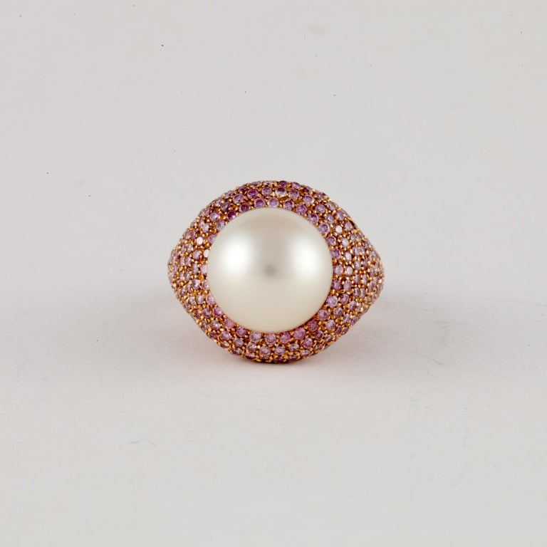 Rose Gold Pink Diamond Pearl Ring For Sale 1