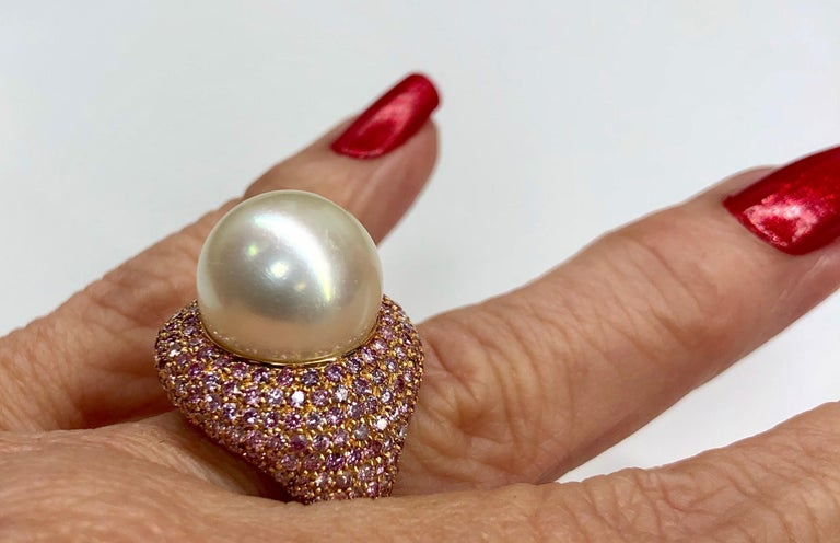 Rose Gold Pink Diamond Pearl Ring For Sale 3