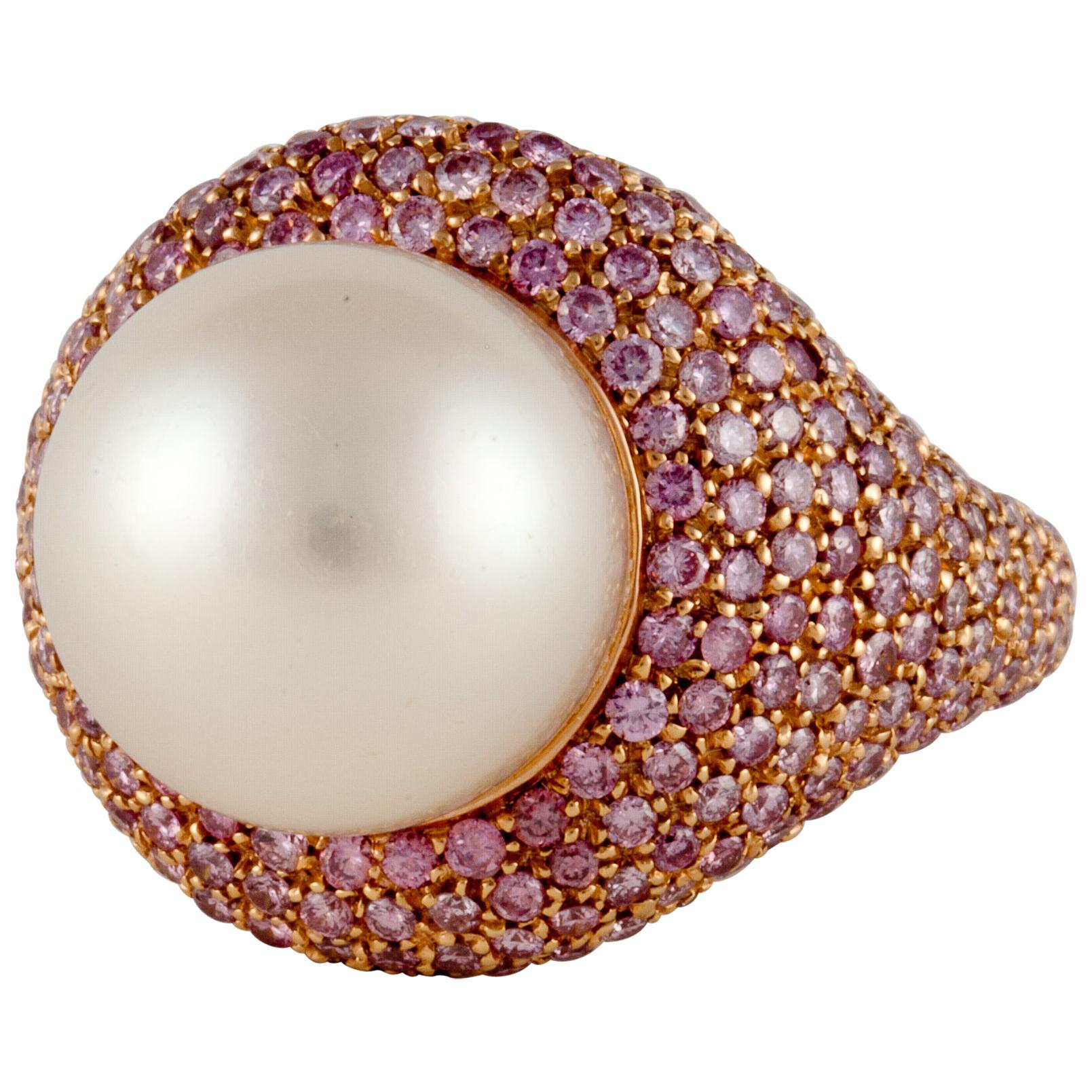 18K Rose Gold Pink Diamond and South Sea Pearl Ring
