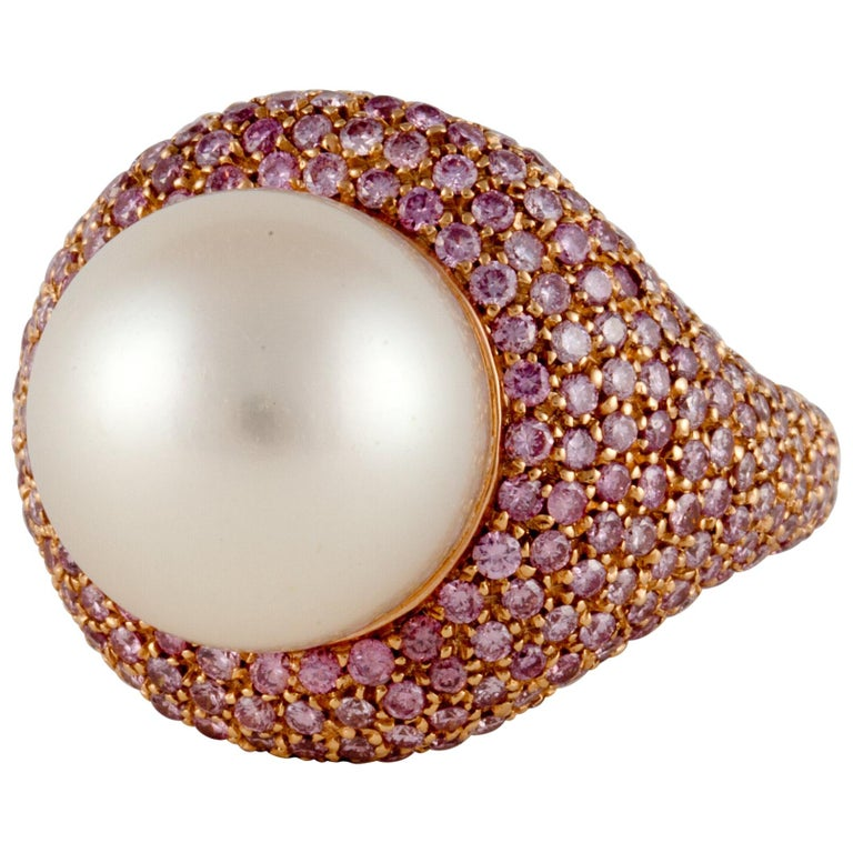 Rose Gold Pink Diamond Pearl Ring For Sale