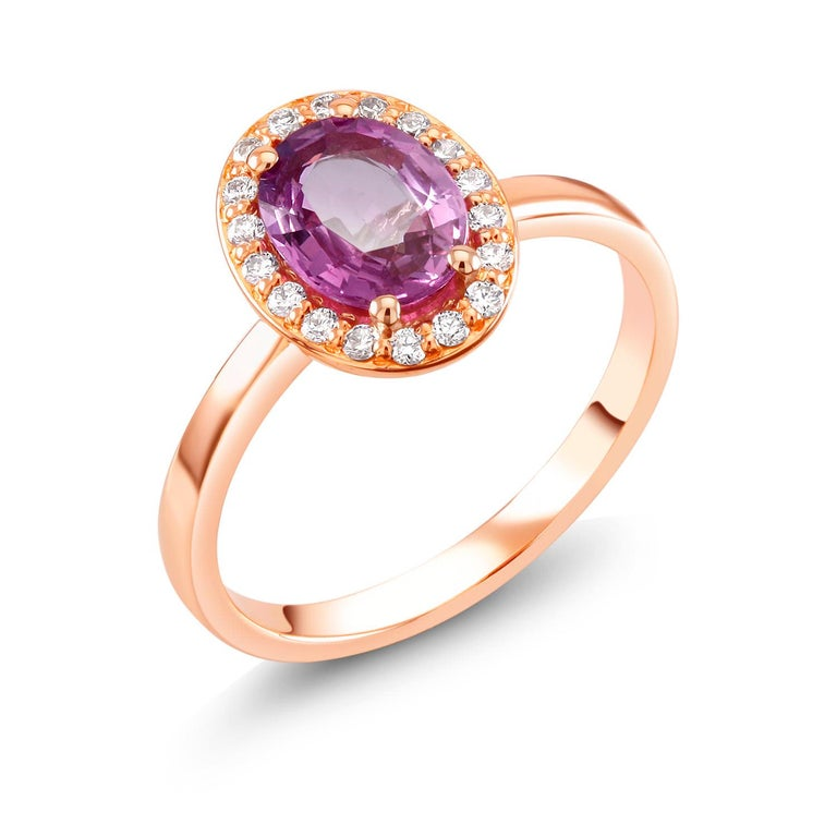 Women's OGI Ceylon Pink Sapphire and Diamond Rose Gold Cocktail Cluster Ring For Sale