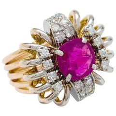 Rose Gold, Platinum Diamond Ring, 1.68 Carat Ruby