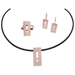 Rose Gold Rectangle Pendant with Princess Diamond on Rubber Cord
