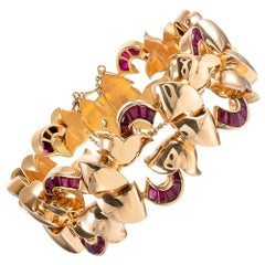 Rose Gold Retro Bracelet with Synthetic Rubies