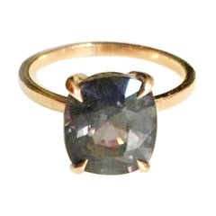 14 Karat Rose Gold Ring with 4.6 Carat Titan Purple Spinel
