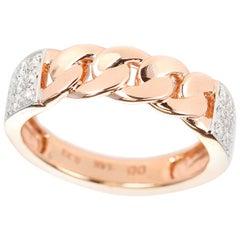 Rose Gold Rope-Style Ring with Diamonds, 14 Karat