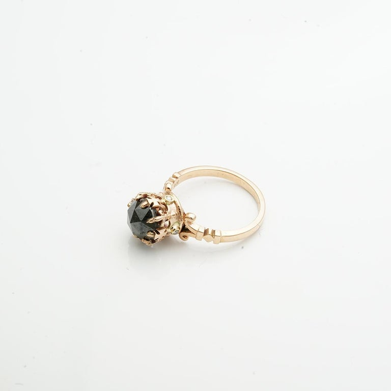 Rose Gold Rose Cut Black Diamond Imperial Crown Ring In New Condition For Sale In Fitzroy, AU